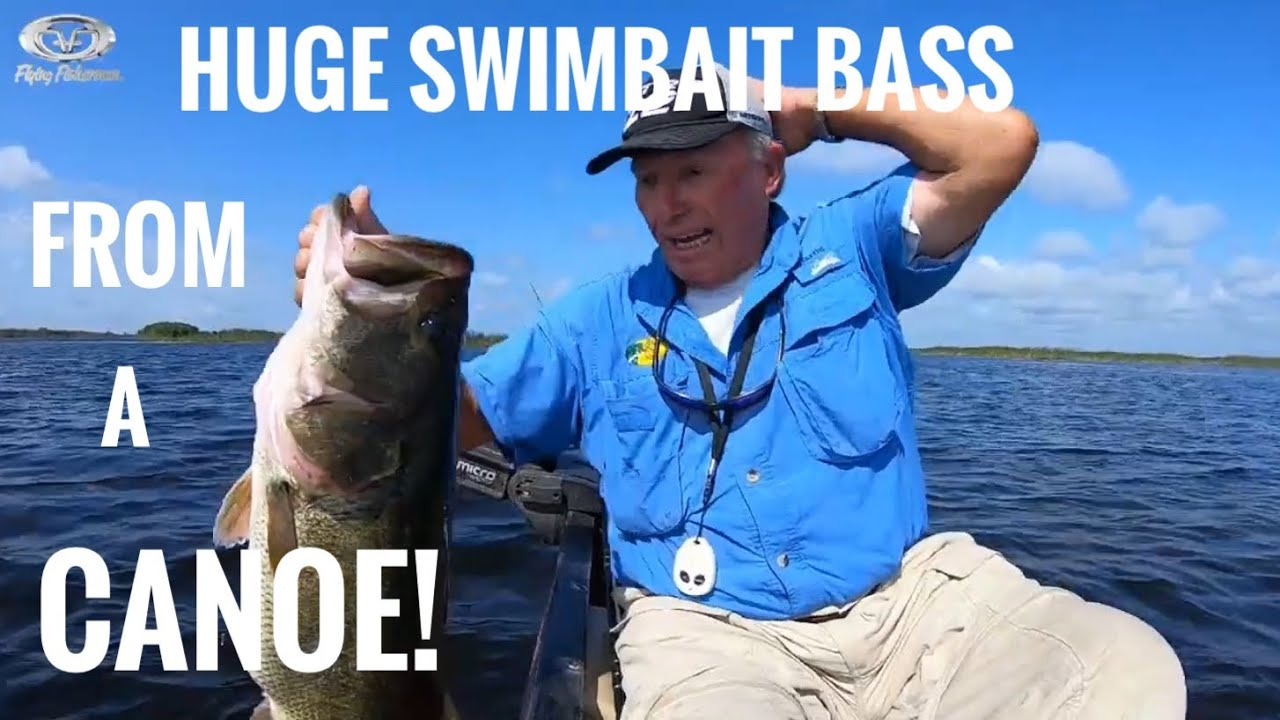 Bass over 9 Lbs on a swimbait from a Canoe!