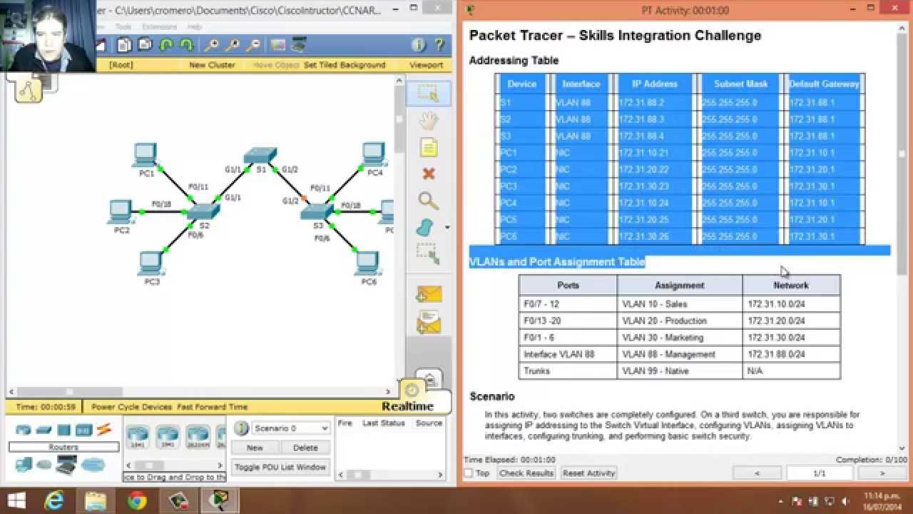 3 4 1 2 packet tracer skills integration challenge youtube