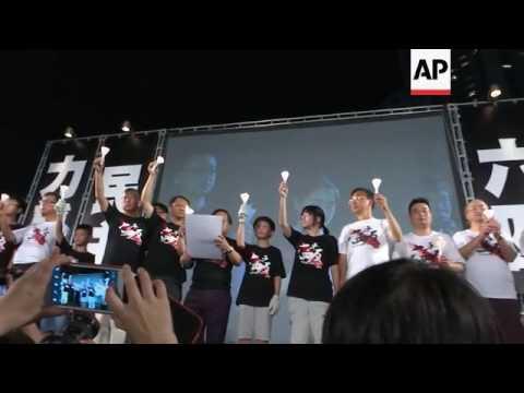 Vigil at Tiananmen memorial in HKong