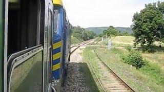 Czech Republic: Leaving Jince, Pribram District,on Class 749 039-4 to Prague, Praha Hlavni Nadrazi
