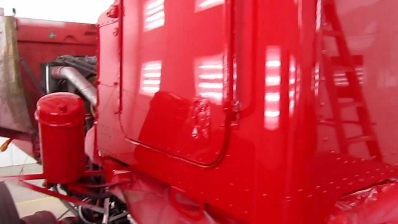 Paint Job On Peterbilt 357 Tandem Axle Chassis Vermillion