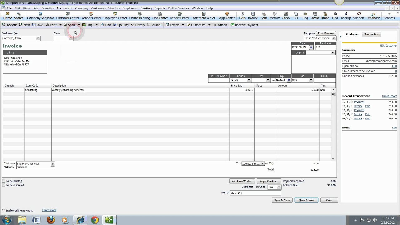 Free QuickBooks Tutorials For Accounts Receivable And Accounts - Quickbooks invoice accounts receivable