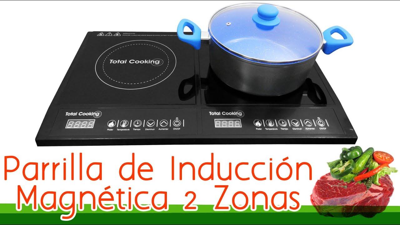 Parrilla De Inducción Magnética Total Cooking Doble Zona - YouTube