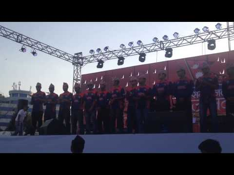 Nepal cricket team on stage
