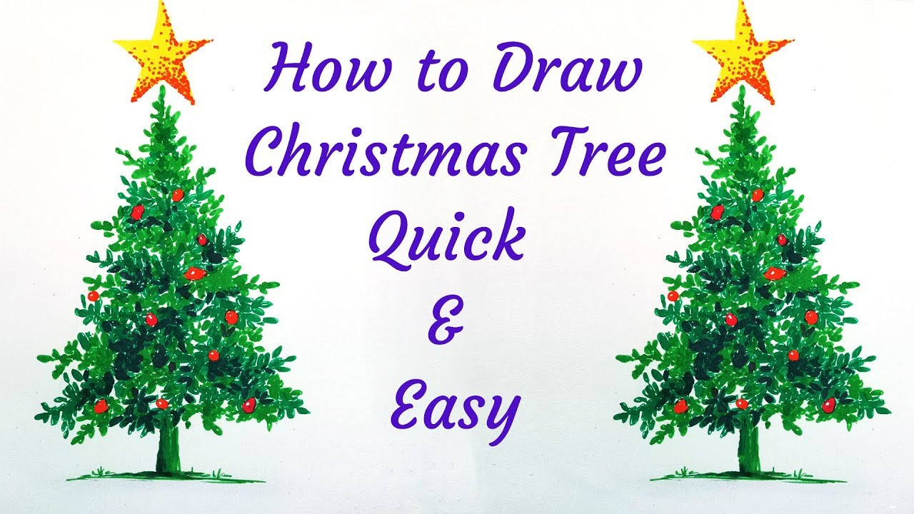 How To Draw Christmas Tree Realistic Easy Quick Live With