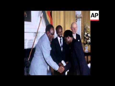 CUTS 2/5/80 ZIMBABWE DIPLOMATS PRESENT CREDENTIALS TO PRESIDENT BANANA