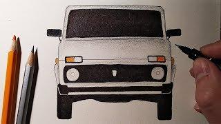 Как нарисовать мишину НИВА, Рисунки для детей и начинающих #drawings
