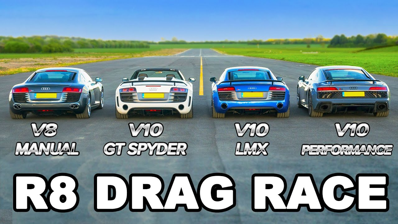 Audi R8 generations 2006-2019 - DRAG RACE, ROLLING RACE & BRAKE TEST!