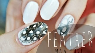 Feather Manicure | Nail art tutorial [Odette Swan]