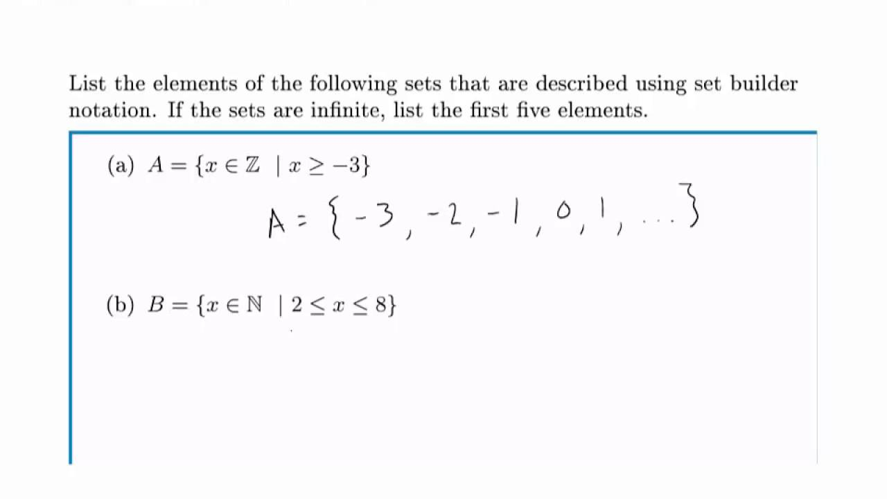 Math: describing sets and intervals with a set-builder notation.