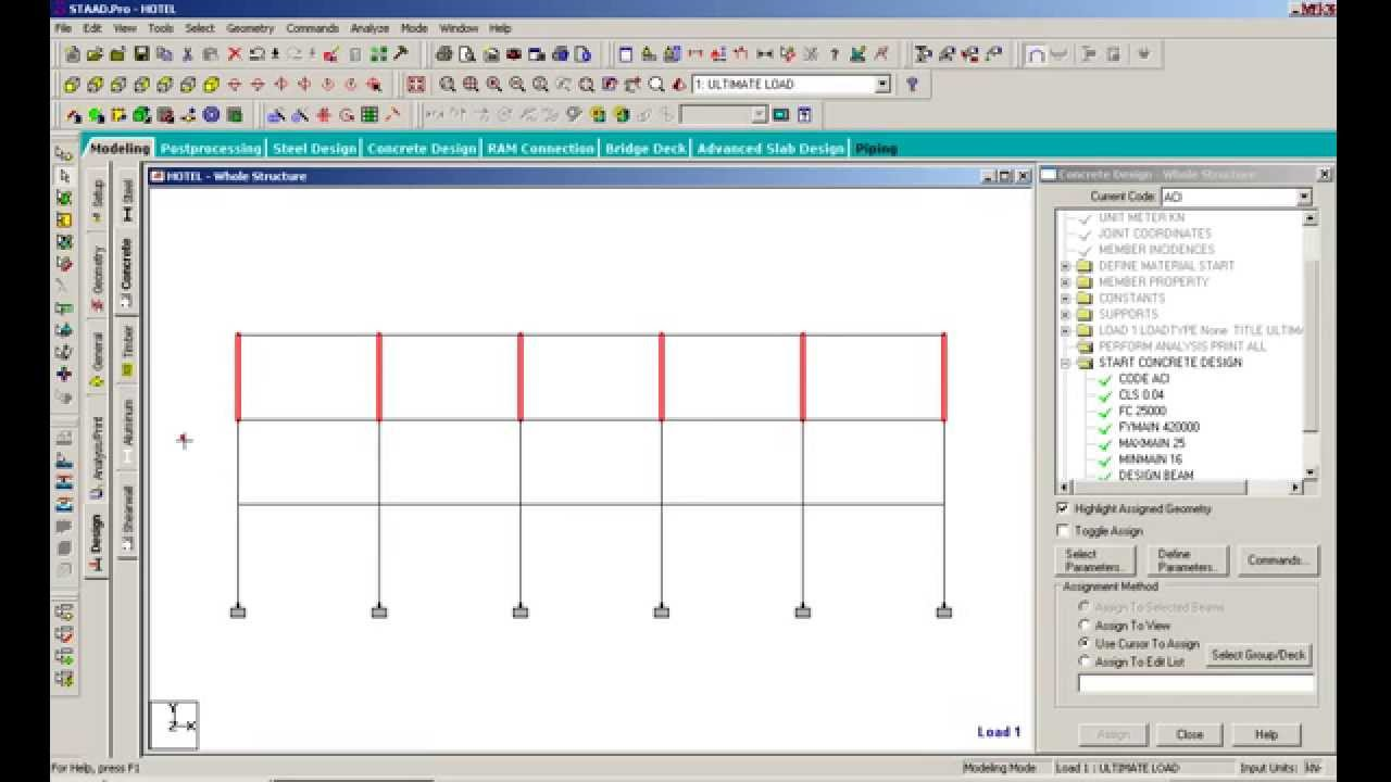 Beam Column Design With Staadpro 2007 Youtube