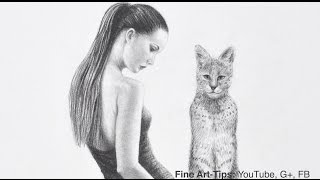 how to draw a serval woman beautiful girl with big cat