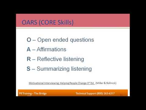 Theory & Practice of MI - Practicing OARS - Mastering the CORE ...