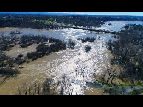 Sacramento river flooding - Northern California. Effects of the Shasta dam spillway opened