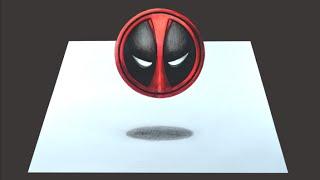 Como desenhar o Símbolo do Deadpool em 3D - passo a passo