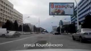 Driving by streets of postwar Lugansk
