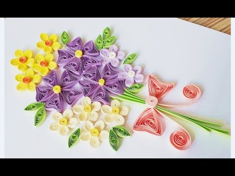 DIY Paper Quilling Flower For beginner Learning video 34 // Paper Quilling Flower Card