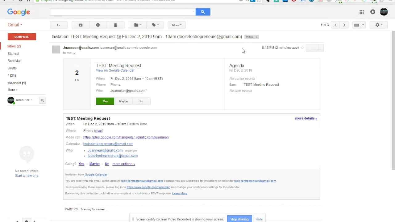 Google Tutorial How To Accept A Meeting Request From
