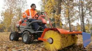 Learn how to attach a broom to the Husqvarna P 524 Front Mower