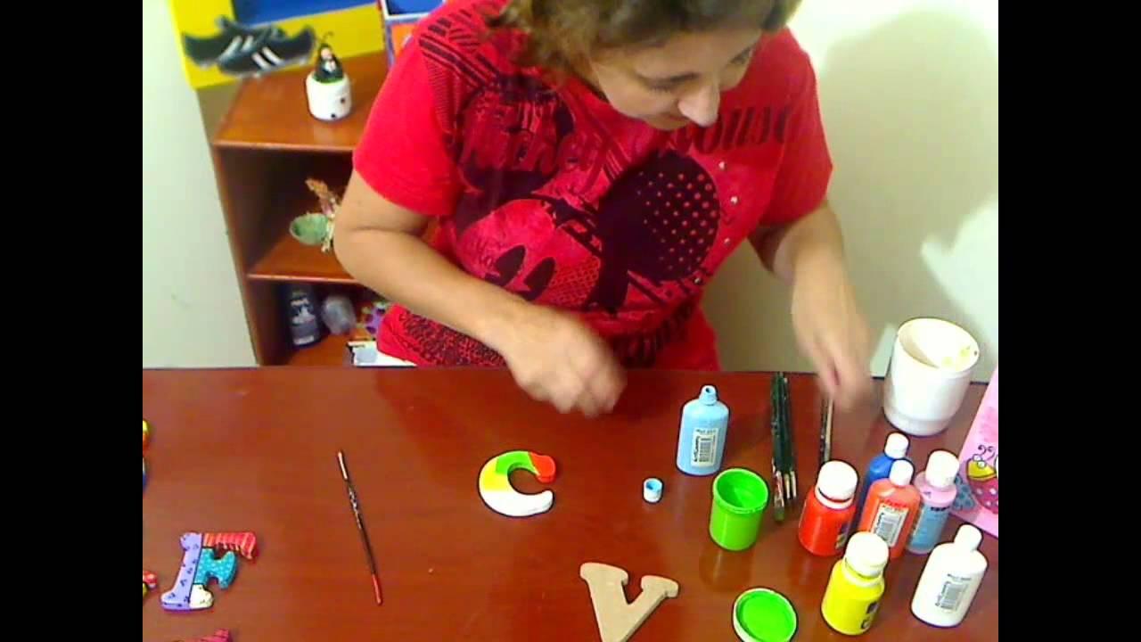 Letras super coloridas pintura en madera youtube - Decorar madera con pintura ...