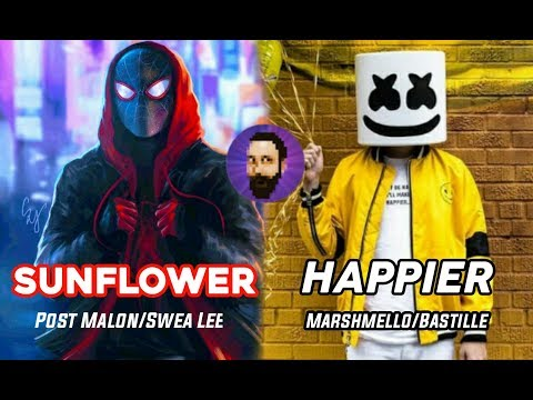 Sunflower x Happier Mashup Post Malone and Swae Lee Dj Marshmello and Bastille Minecraft note blocks