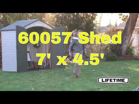 Lifetime 60057 Plastic Storage Shed Outdoor Building 7 ft x 4.5 ft