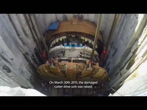 Bertha- Raising tunnel boring machine Bertha from below