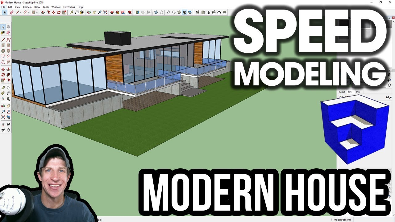 MODERN HOUSE SPEED BUILD - SketchUp Speed Modeling - The