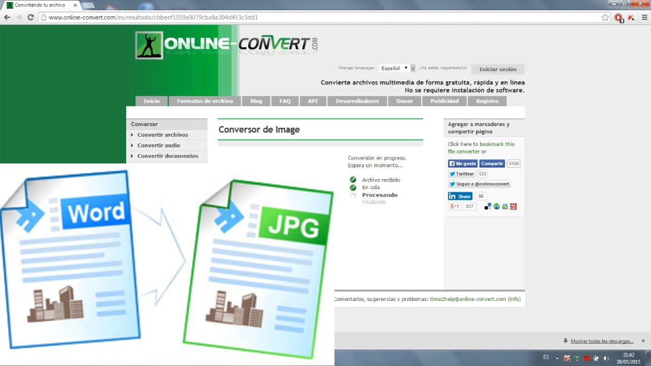 Como convertir online un archivo WORD a JPG (imagen) | SIN