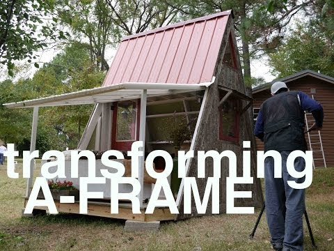 Deek 39 s transforming 1200 a frame cabin and plans tiny for Small a frame home plans