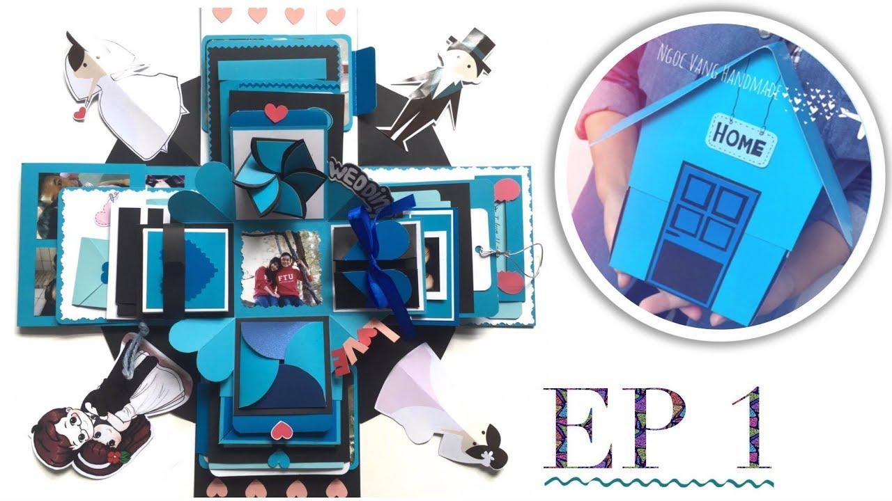 HƯỚNG DẪN LÀM LOVE BOX NGÔI NHÀ (Phần 1)- Exploding Box Tutorial Ep.1- NGOC VANG Handmade