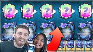 SHE GOT x5 LEGENDARIES IN A ROW?! | Clash Royale | LEGENDARY SUPER MAGICAL CHEST HUNT w/ KARLA!