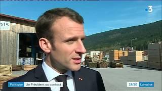 Politique : Emmanuel Macron dans une scierie vosgienne