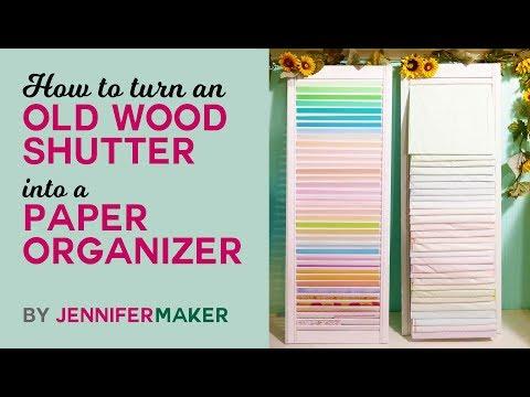 DIY Paper Organizer from a Repurposed Shutter Tutorial