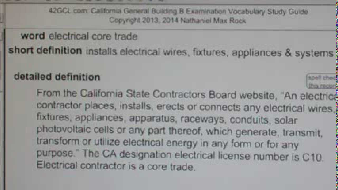 Electrical Core Trade Gce42 General Contractors B Building Exam
