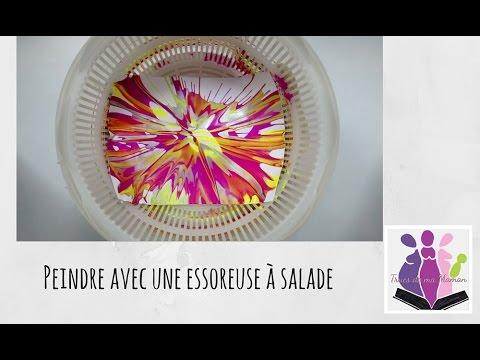 peindre avec une essoreuse salade activit avec les. Black Bedroom Furniture Sets. Home Design Ideas