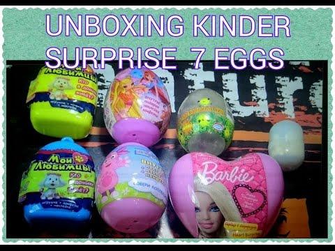 Unboxing seven kinder surpise eggskinder barbiewinxluntikchupa chups мои любимцы