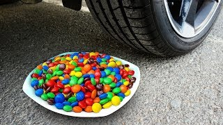 Crushing Crunchy & Soft Things by Car! - EXPERIMENT: CAR vs M&M Plate