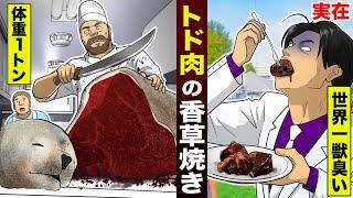 【実在】世界一獣臭い...トド肉の香草焼き。食感はハードゴム。