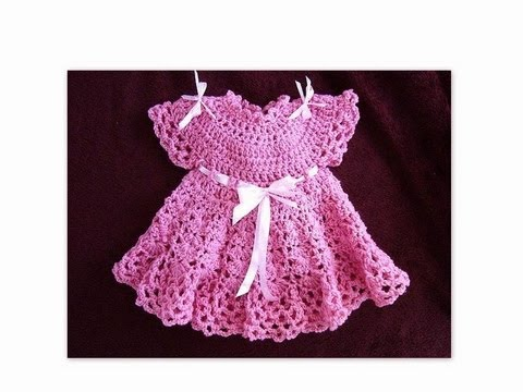How To Crochet A Pink Baby Dress Part 1 Youtube