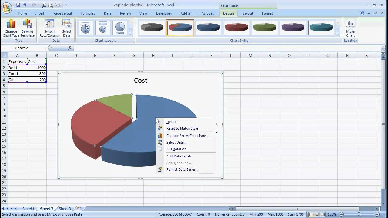 Create an Exploding Pie Chart - YouTube