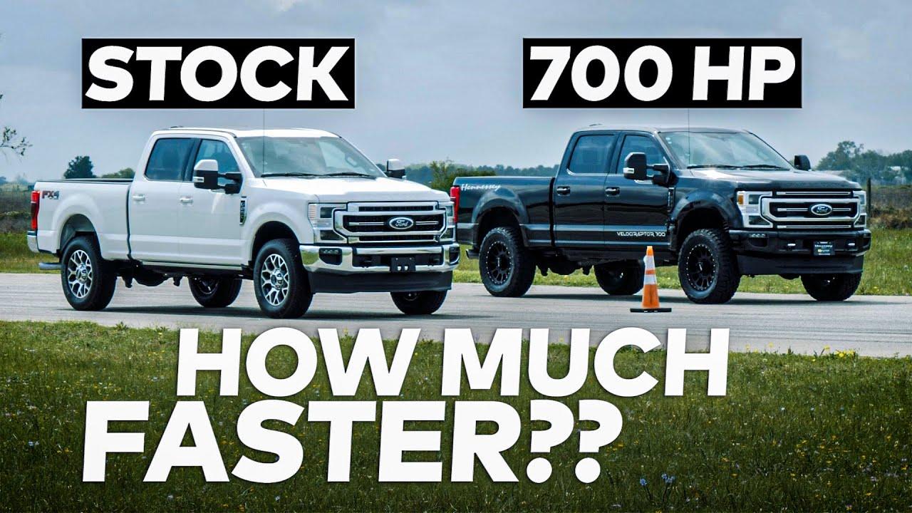 430 HP 7.3L F250 vs 700 HP 7.3L F250 Ford Truck Drag Race!