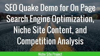 SEO Quake Demo for On Page Search Engine Optimization, Niche Site Content, and Competition Analysis
