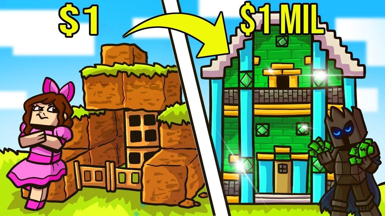 Minecraft: 1 MAISON EN DOLLARS CONTRE 1 000 000 DE MAISON EN DOLLARS !!! Crafting Mini-Game + vidéo