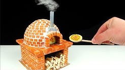 How to make a Miniature PIZZA OVEN from Mini Bricks - BRICKLAYING - mini pizza in the oven!