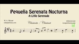 A Little Night Music Sheet Music for Clarinet Pequeña Serenata Nocturna Partitura de Clarinete