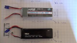 HUBSAN H501S lipo (battery) fitting test - test dimensioni lipo(batterie) adatte al quadricottero