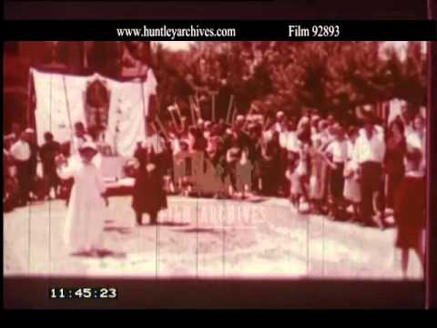 Religious Procession in 1950's Rome.  Archive film 92893