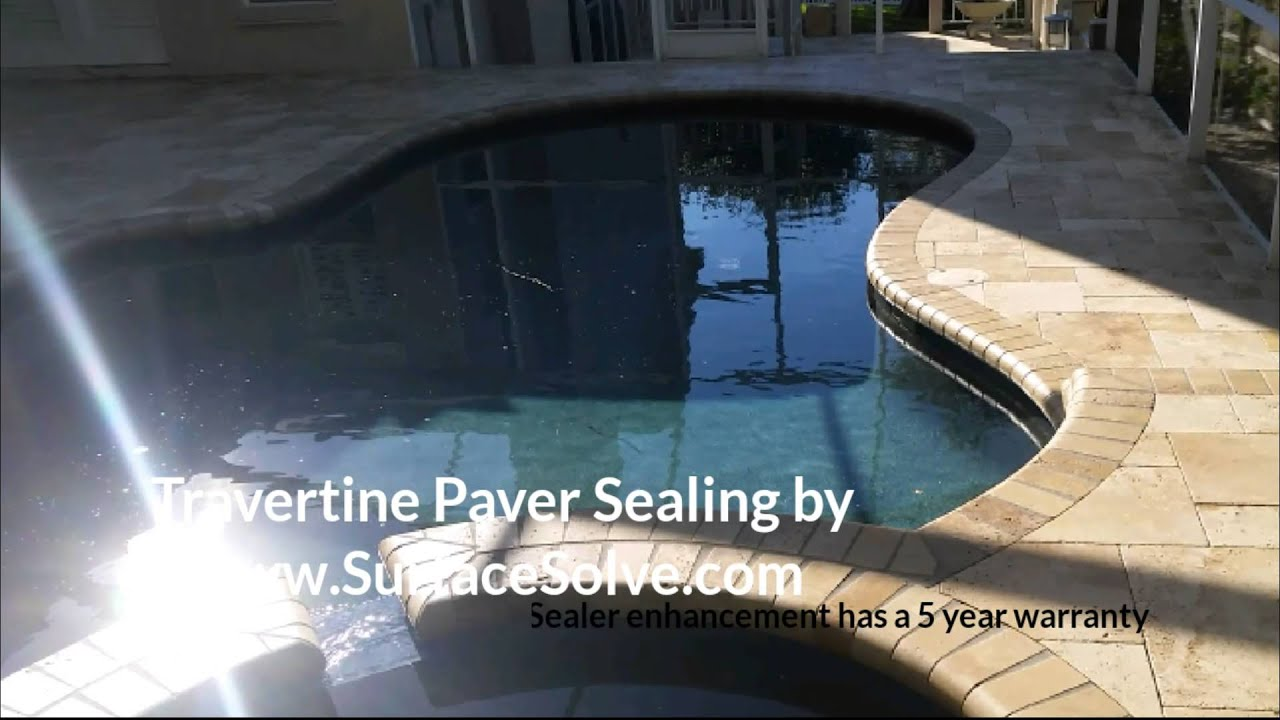 Travertine Pool Deck Sealer Cleaning & Sealing Travertine Pavers  Youtube