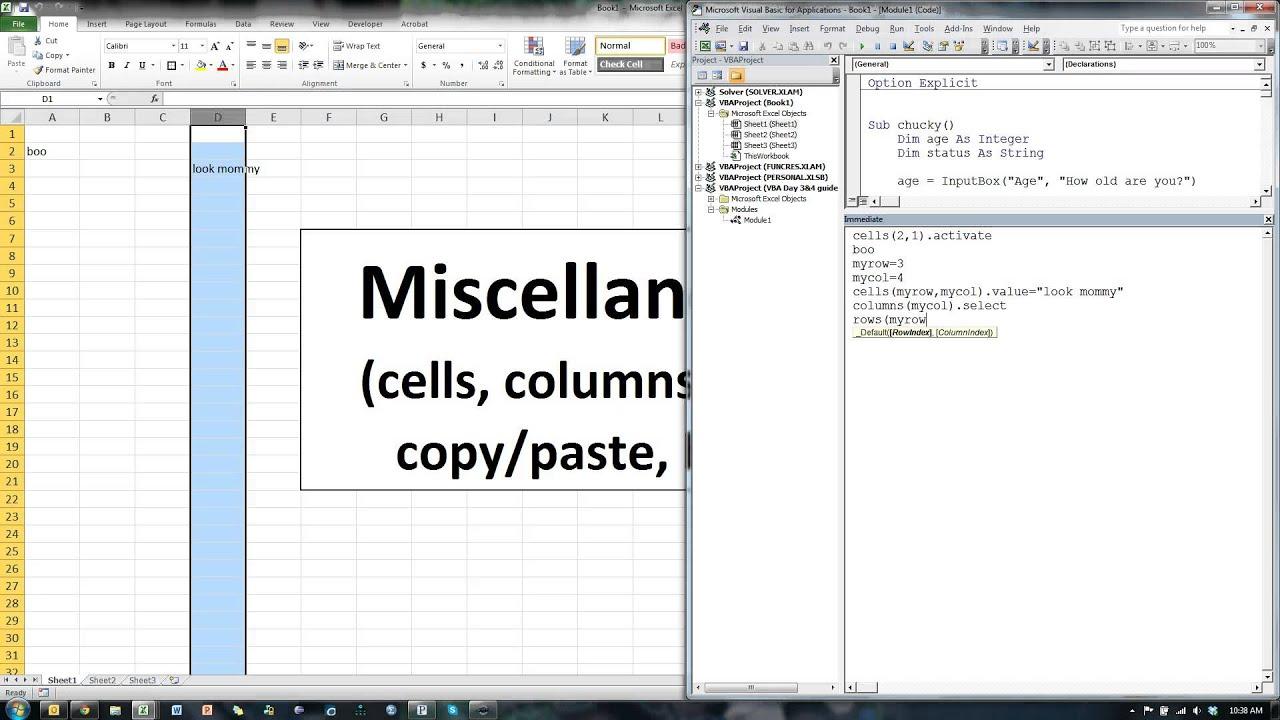Excel Vba Cells Columns Rows Copy Paste Beep
